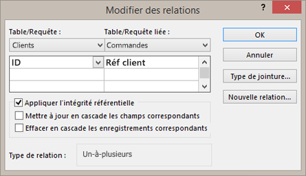 Modification d'une relation existante entre des tables