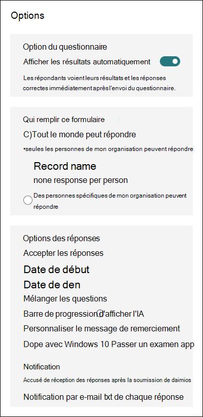 Paramètres pour Microsoft Forms