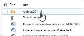 Bibliothèque de documents SharePoint 2010 avec le dossier mis en surbrillance