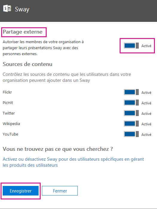 Activez ou désactivez le paramètre «Partage externe», le cas échéant, puis cliquez sur Enregistrer.
