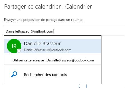 Capture d'écran de la boîte de dialogue Partager le calendrier dans Outlook.com
