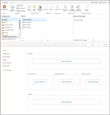 Page de composants WebPart classique
