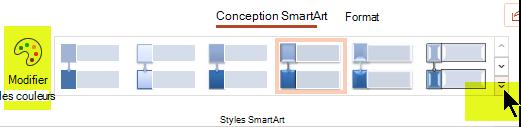 Vous pouvez modifier la couleur ou le style du graphique à l'aide des options de l'onglet Création de graphique SmartArt du ruban.