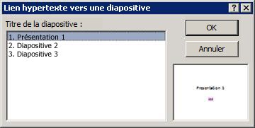 Boîte de dialogue Lien hypertexte vers une diapositive