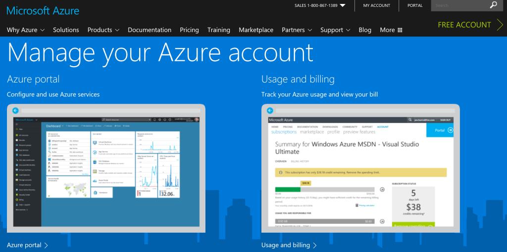 Azure page de compte administrateur ou administrateur d'abonnement Azure.