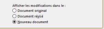Afficher les modifications dans un nouveau document