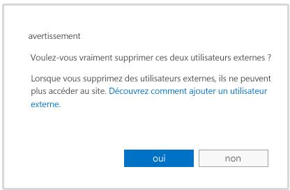 Message d'avertissement affiché lorsque vous êtes sur le point de supprimer le compte d'un utilisateur externe