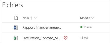 Capture d'écran de fichiers dans OneDrive entreprise avec un fichier malveillant détecté