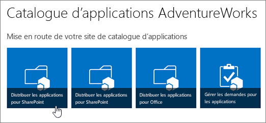 Vignettes Mise en route de votre site de catalogue d'applications avec l'option Distribuer les applications pour SharePoint mise en évidence.