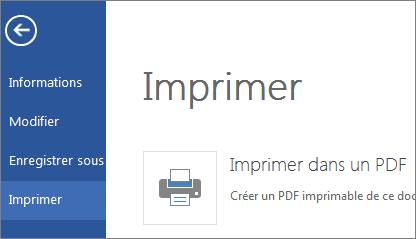 Commande Imprimer dans Word Web App