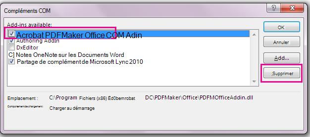 Activez la case à cocher pour le complément COM de Acrobat PDFMaker Office, puis cliquez sur Supprimer.
