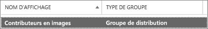Sélectionnez un groupe de distribution dans la page groupes