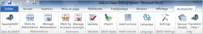 Onglet Accessibilité du ruban, groupe Save as DAISY