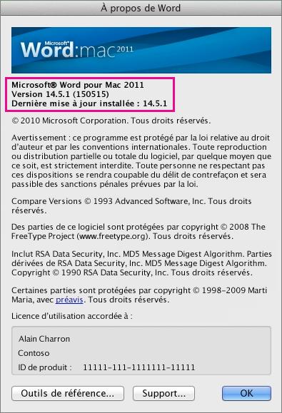 Page À propos de Word dans Word pour Mac2011