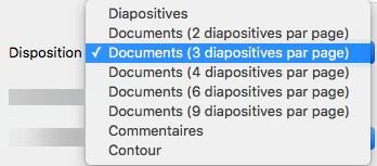 Dans la boîte de dialogue Imprimer, sélectionnez la disposition Document