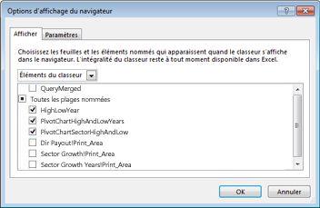 Boîte de dialogue Options d'affichage du navigateur d'Excel