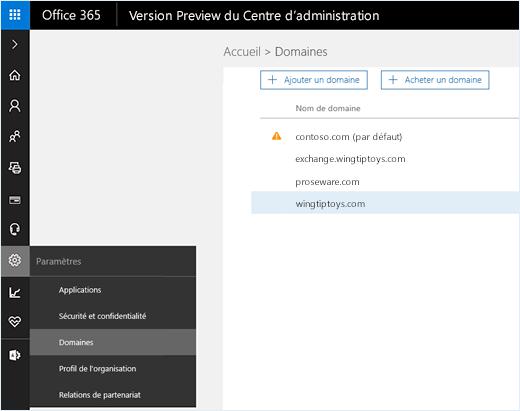 Centre d'administration Office365 avec l'option Domaines sélectionnée Les noms de domaine apparaissent sur la page, avec les options d'ajout ou d'achat d'un domaine.