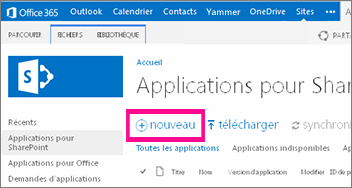 Lien Nouvelle application de la bibliothèque Applications pour SharePoint dans le catalogue d'applications