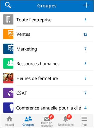 Capture d'écran de groupes dans l'application mobile Yammer