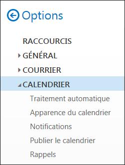 Options du calendrier dans Outlook sur le web