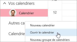 Capture d'écran de l'option ouvrir le calendrier
