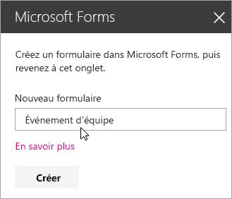 Panneau du composant WebPart Microsoft Forms pour un nouveau formulaire.