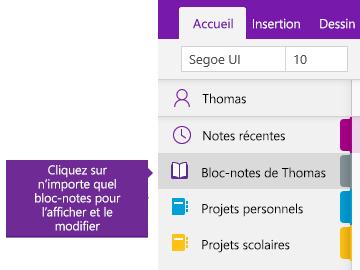 Capture d'écran de la liste des blocs-notes dans OneNote