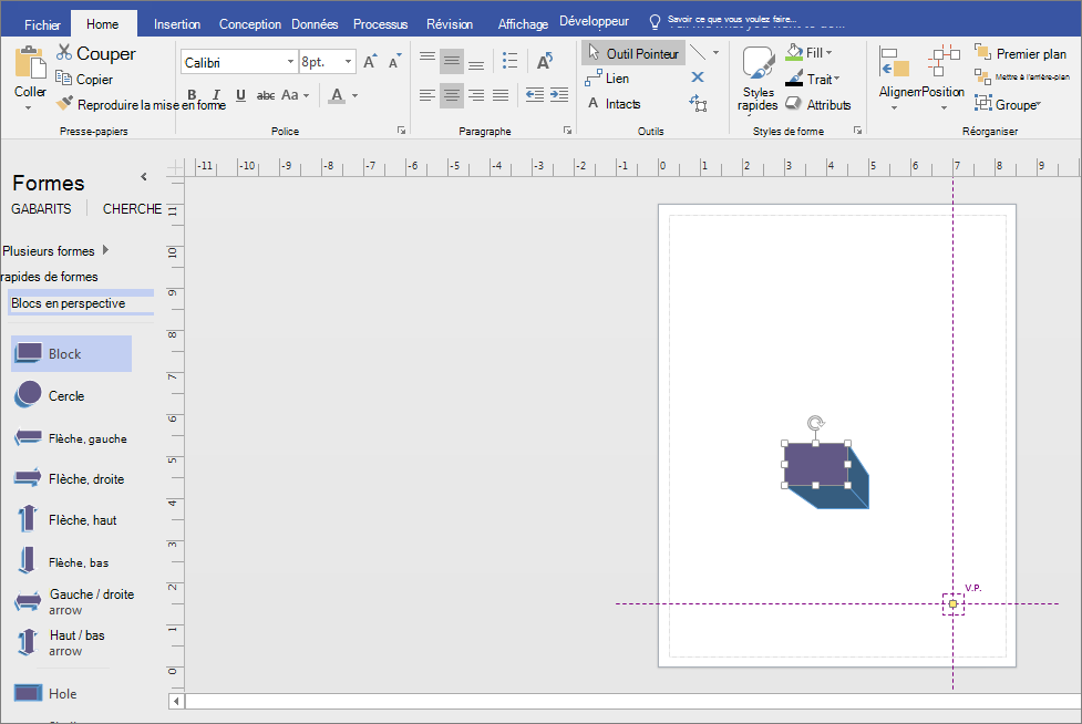 À partir de blocs avec gabarit Perspective, faites glisser une forme sur la page de dessin.