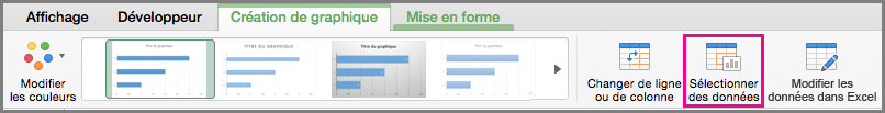 Office pour Mac graphique sélectionner des données