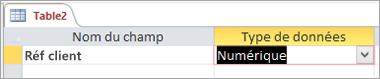 Nom du premier champ et type de données d'une nouvelle table Access