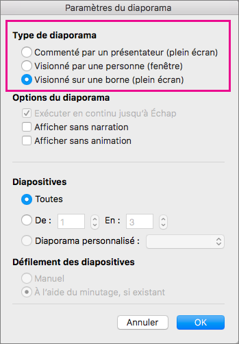 Afficher les options de type