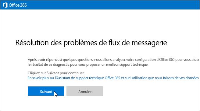 Capture d'écran du début de l'utilitaire de dépannage du flux de courrier avec le bouton Suivant sélectionné