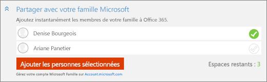 Capture d'écran en gros plan de la section «Partager avec votre Famille Microsoft» de la boîte de dialogue «Ajouter une personne» avec le bouton «Ajouter les personnes sélectionnées».