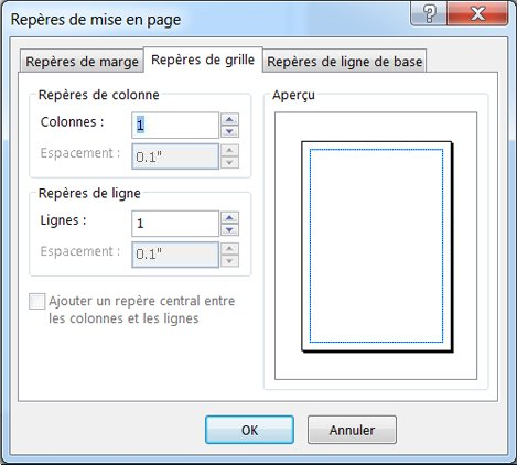 Repères de mise en page Publisher affichant les repères de grille