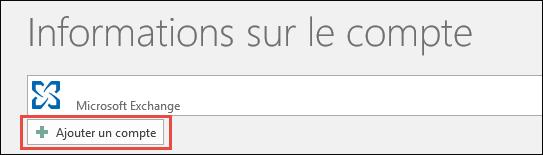 Option Ajouter un compte dans Outlook2016