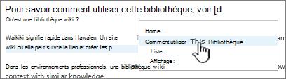 Insertion d'un lien dans un wiki