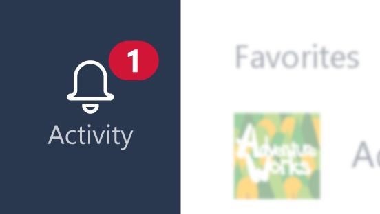 Une notification d'activité bouton affichant