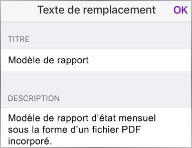 Ajouter un texte de remplacement aux fichiers incorporés dans OneNote pour iOS