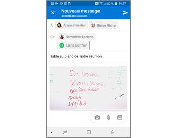 Brouillon de message contenant un téléphone et un tableau blanc