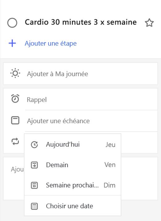 Capture d'écran présentant l'affichage détaillé avec l'option Ajouter une échéance sélectionnée.