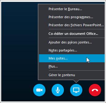 Capture d'écran du partage des notes OneNote2016 dans Skype Entreprise