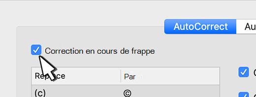 Outlook pour Mac la case à cocher Remplacer le texte en temps que vous tapez