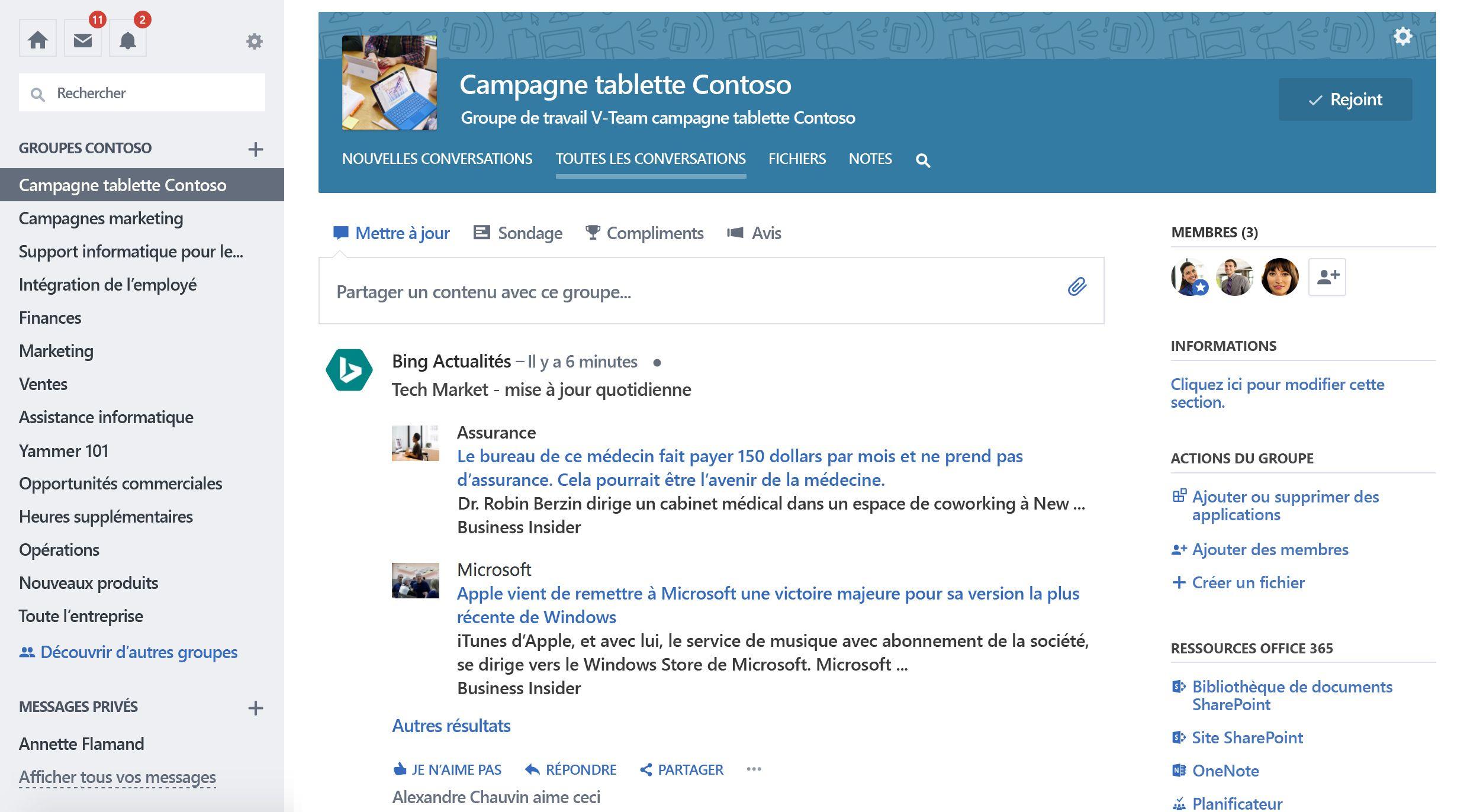 Capture d'écran de mise à jour du groupe à partir de services tiers