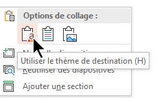 Sous options de collage, sélectionnez la première option, utiliser le thème de destination