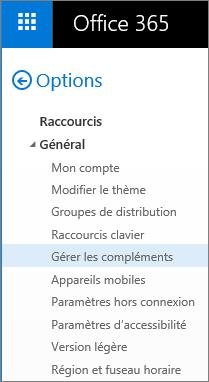 Capture d'écran de la section Général du menu Options d'Outlook, avec l'option «Gérer les compléments» en surbrillance.