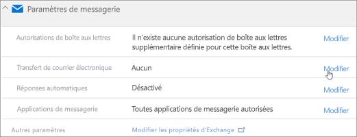 Capture d'écran: Choisissez Modifier pour configurer le transfert du courrier