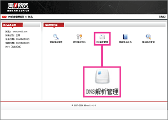 Cliquez sur «DNS解析管理»