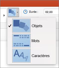 Options d'effet pour la transition Transformer dans PowerPoint2016 pour Mac