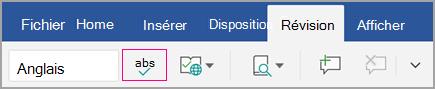 Icône du vérificateur orthographique sous l'onglet Révision