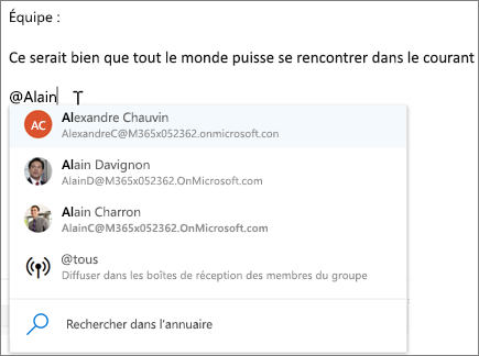@mentions dans Outlook sur le web